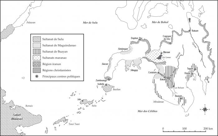 Carte des sultanats de Mindanao